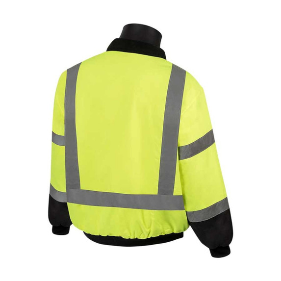 Get HivizGard Class 3 Insulated Bomber Jacket, Lime Green, Black Bottom Front, LB16725G at Harmony