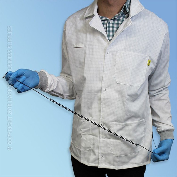 Poly/Cotton ESD Lab Coats, Knit Cuff, each