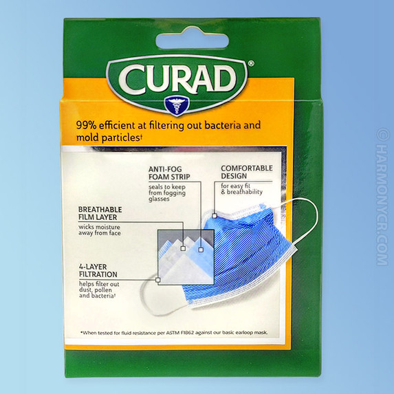 Curad Germ Shield Medical Grade Face Mask box back