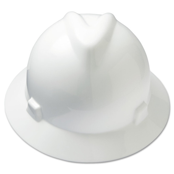 V-Gard Slotted Full Brim Hard Hat, Fas-Trac III Rachet Suspension, White, ea   Harmony Lab and Safety Supplies