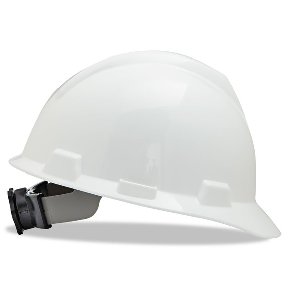 V-Gard Slotted Cap Style Hard Hat, Fas-Trac III Rachet Suspension, White, ea