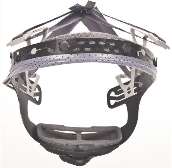 Integrated, perforated sweatband covers forehead completely, eliminating pressure from an exposed headband.