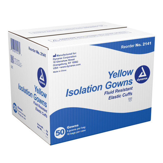 Dynarex Polypropylene Isolation Gowns with elastic cuff, Fluid Resistant, Yellow, 50/case