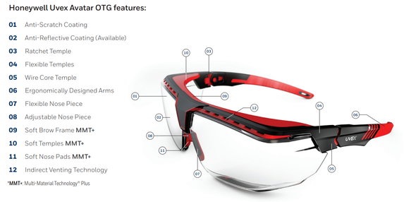 Uvex Avatar OTG Safety Glasses, Anti-Fog Clear Lens, Multiple Frame Color Options | Harmony Lab and Safety Supplies