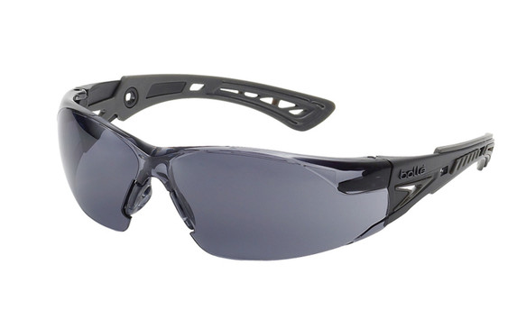 Get Bolle Safety Rush+ Safety Glasses, Black/Gray Temples, Smoke Lens (40208) at Harmony