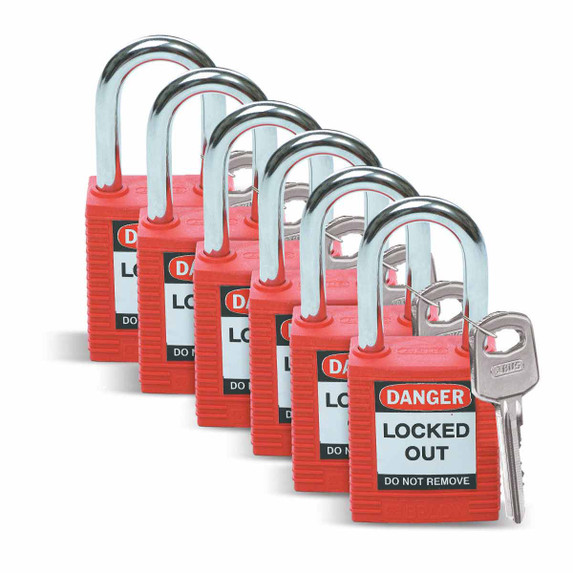 Get Brady Nonconductive Nylon Lockout Padlocks, Keyed Different, 6/pack (51339) at Harmony