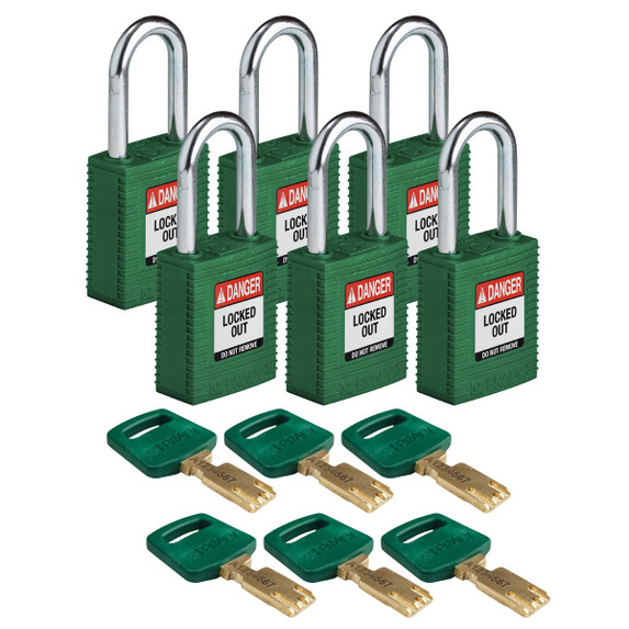 Get Brady SafeKey Nylon Lockout Padlocks with Steel Shackle, Keyed Alike, Green, 6/pack (NYL-GRN-38ST-KA6PK) at Harmony