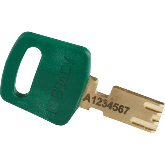 Get Brady SafeKey Nylon Lockout Padlock with Plastic Shackle and color-matched key, Keyed Different, 6/pack, Blue (NYL-GRN-38PL-KD6PK) at Harmony