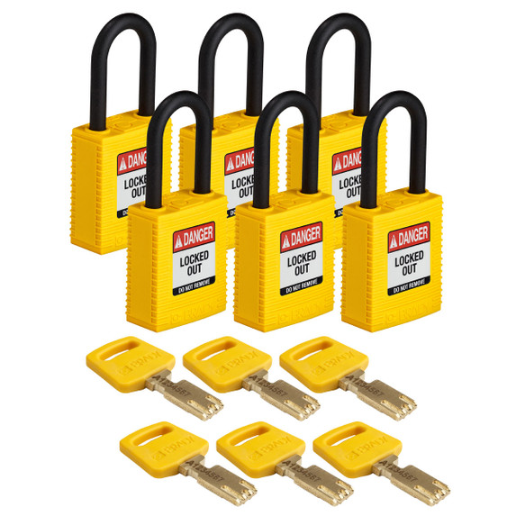 Get Brady SafeKey Nylon Lockout Padlock with Plastic Shackle, Keyed Different, 6/pack, Blue (NYL-YLW-38PL-KD6PK) at Harmony