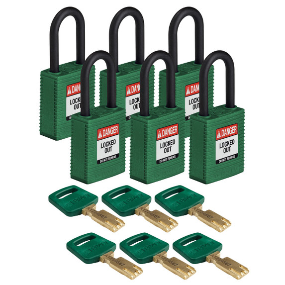 Get Brady SafeKey Nylon Lockout Padlock with Plastic Shackle, Keyed Different, 6/pack, Blue (NYL-GRN-38PL-KD6PK) at Harmony