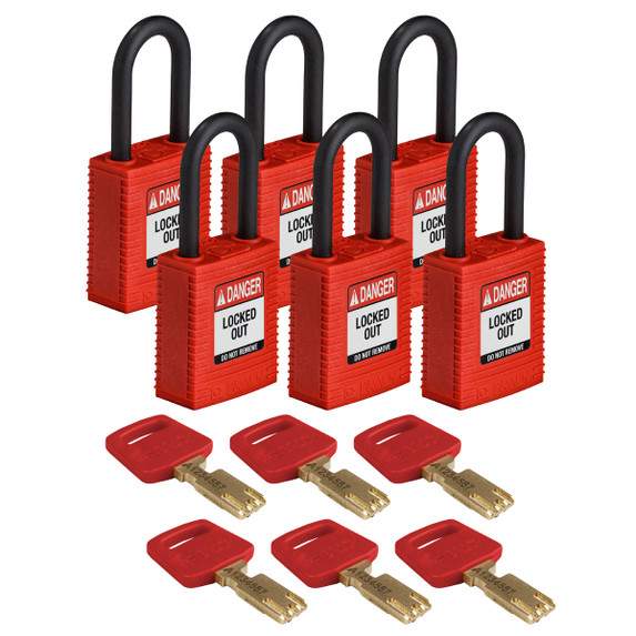 Get Brady SafeKey Nylon Lockout Padlock with Plastic Shackle, Keyed Different, 6/pack, Blue (NYL-RED-38PL-KD6PK) at Harmony