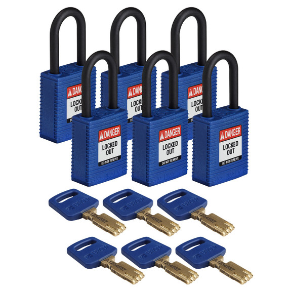 Get Brady SafeKey Nylon Lockout Padlock with Plastic Shackle, Keyed Different, 6/pack, Blue (NYL-BLU-38PL-KD6PK) at Harmony