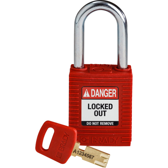 Get Brady SafeKey Nylon Lockout Padlocks with Steel Shackle, Keyed Different, Red (NYL-RED-38ST-KD) at Harmony