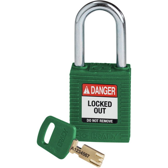 Get Brady SafeKey Nylon Lockout Padlocks with Steel Shackle, Keyed Different, Red (NYL-GRN-38ST-KD) at Harmony