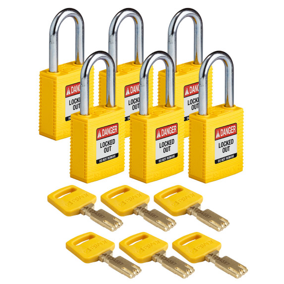 Get Brady SafeKey Nylon Lockout Padlocks with Steel Shackle, Keyed Different, 6/pack, Red (NYL-YLW-38ST-KD6PK) at Harmony