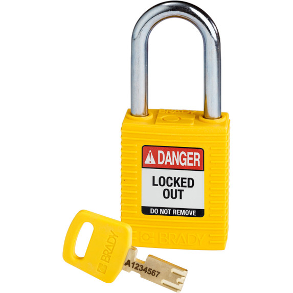 Get Brady SafeKey Nylon Lockout Padlocks with Steel Shackle, Keyed Different, Red (NYL-YLW-38ST-KD) at Harmony
