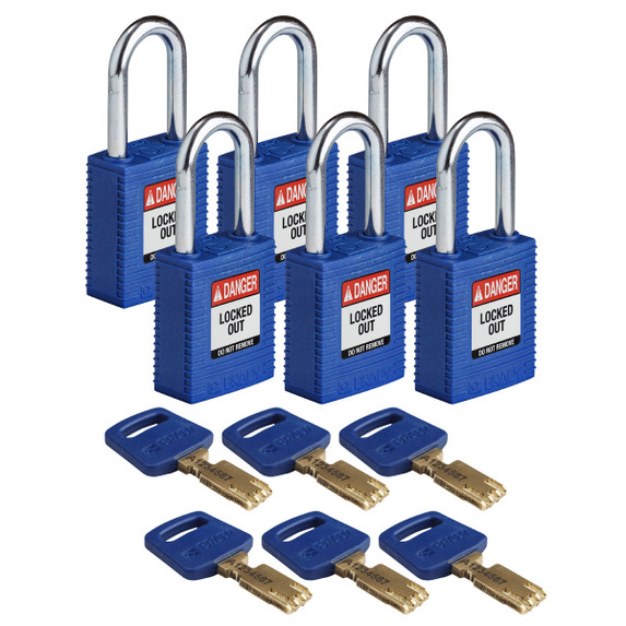 Get Brady SafeKey Nylon Lockout Padlocks with Steel Shackle, Keyed Different, 6/pack, Red (NYL-BLU-38ST-KD6PK) at Harmony