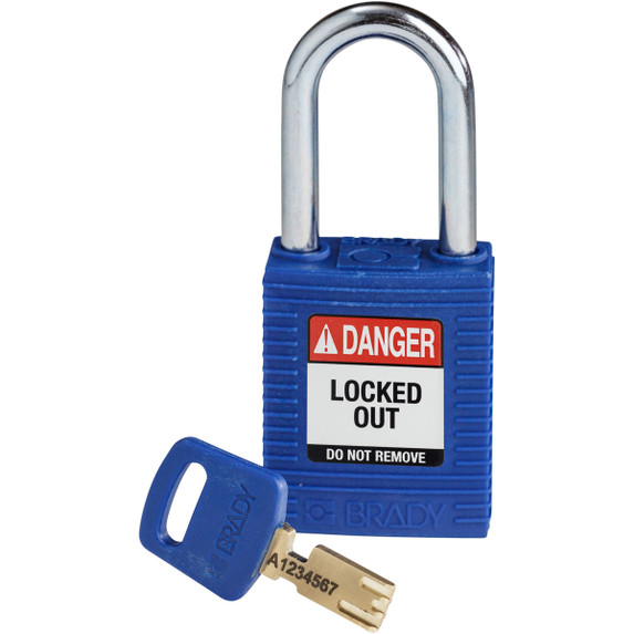 Get Brady SafeKey Nylon Lockout Padlocks with Steel Shackle, Keyed Different, Red (NYL-BLU-38ST-KD) at Harmony