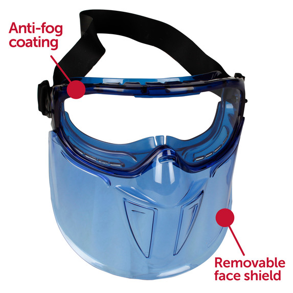 Get KleenGuard™ V90 Shield Safety Goggles with Anti-Fog Coating and Removable Face Shield at Harmony