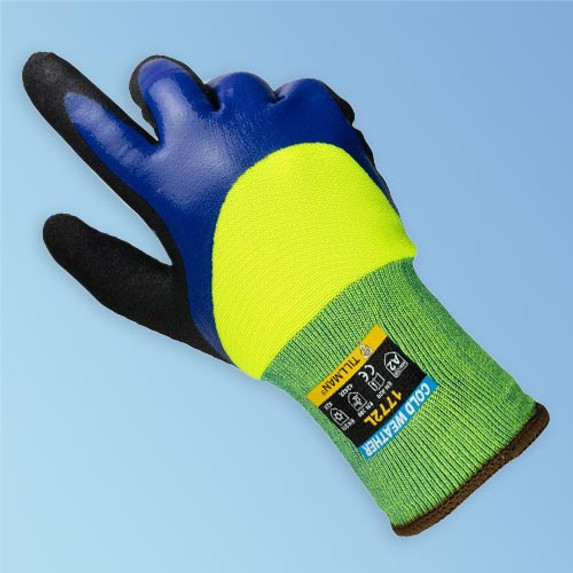 Get Tillman 1772 3/4 Nitrile Coated Cold Weather Glove, Hi-Vis Lime Green/Blue, 12/pair (T1722) at Harmony