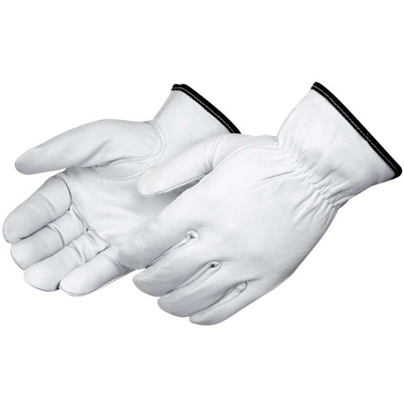 Liberty Glove 6837 fleece lined white goatskin leather driving gloves keep tactile sensitivity with protection from abrasions and chill. Save at Harmony.