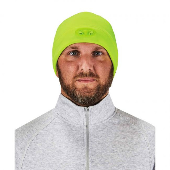 Ergodyne  16802 N-Ferno 6804 Skull Cap Beanie Hat with LED Lights, Lime, at Harmony Lab & Safety Supplies (Front view)