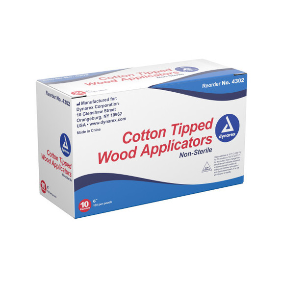 Dynarex Cotton Tipped Wood Applicator, 6 in. Wood Shaft, 4302, 1000/box by Harmony Lab & Safety Supplies