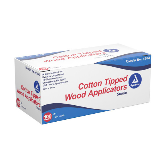 """Dynarex 4304 Sterile Cotton Tipped Wood Applicator Swab, 6"""", Wood shaft, 100/box at Harmony Lab & Safety Supplies"""