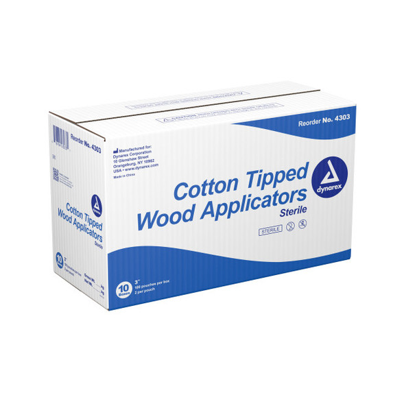 "Dynarex 4303 Sterile Cotton Tipped Wood Applicator Swab, 3"", Wood shaft, 2000/case at Harmony Lab & Safety Supplies"