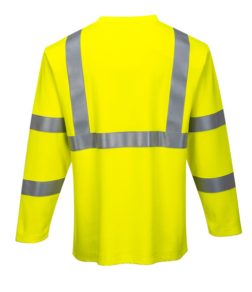 Portwest FR96 CAT 2 Arc Rated Flame Resistant Hi-Vis Long Sleeve T-Shirt, Yellow by Harmony Lab & Safety Supplies (Back view)