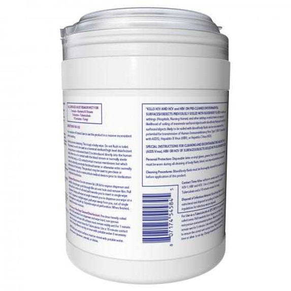 """Get Diversey Oxivir Tb Disinfectant Wipes, 6"""" x 7"""", 160/tub (4599516) at Harmony Lab & Safety Supplies (back view)"""