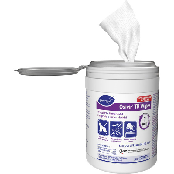 """Get Diversey Oxivir Tb Disinfectant Wipes, 6"""" x 7"""", 160/tub (SDVO4599516) at Harmony Lab & Safety Supplies (front view)"""