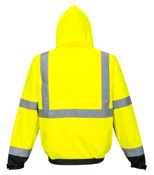 Portwest US365YBR Class 3 Hi-Vis Premium 3-in-1 Bomber Jacket by Harmony Lab & Safety Supplies (back view).