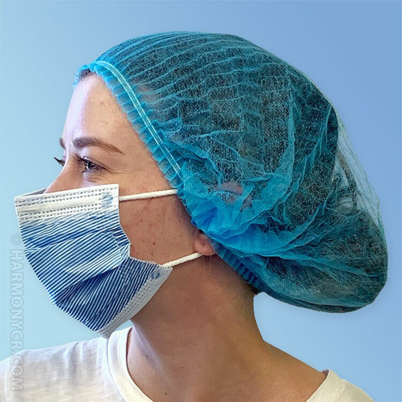 Side Blue Pleated Disposable Bouffant Caps K111-BE by Keystone at Harmony Lab & Safety Supplies.