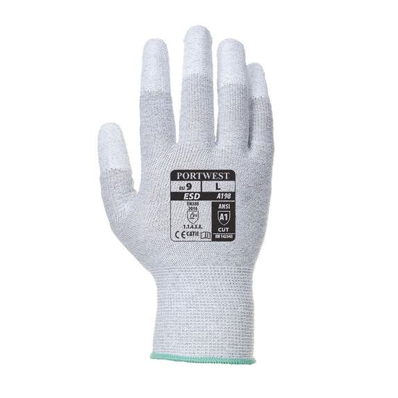 Portwest A198 ESD-safe Polyurethane Fingertip Coated Glove, White/Gray, 12/pack | Harmony Lab and Safety Supplies