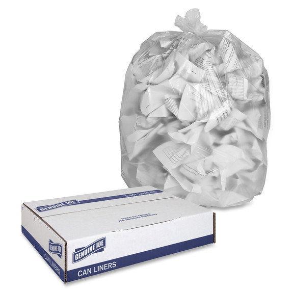 Clear High Density Trash Can Liners, 43 x 48 in., 56 gal., 16 micron, 200/case (GJO01760) | Harmony Lab and Safety Supplies