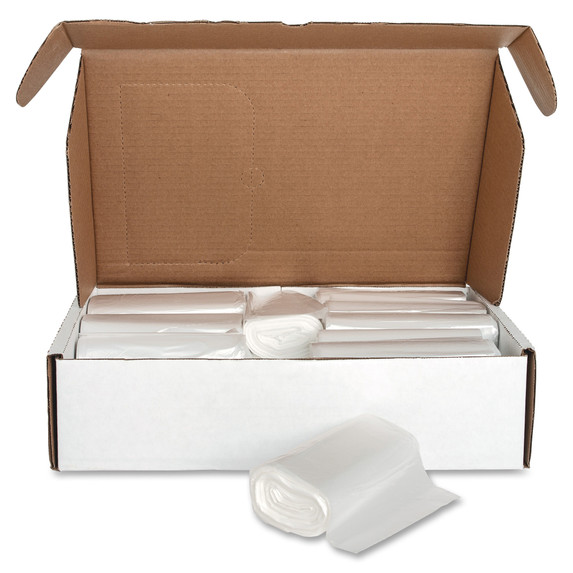 Clear High Density Trash Can Liners, 43 x 48 in., 56 gal., 16 micron, 200/case (Genuine Joe 01760) | Harmony Lab and Safety Supplies