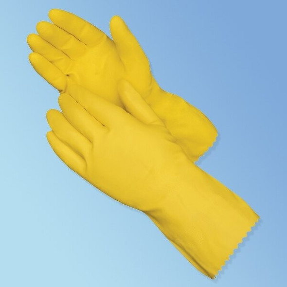 "Get 12"" Yellow Flock Lined Latex Gloves, 18 mil, 12/pairs L2870SL at Harmony"