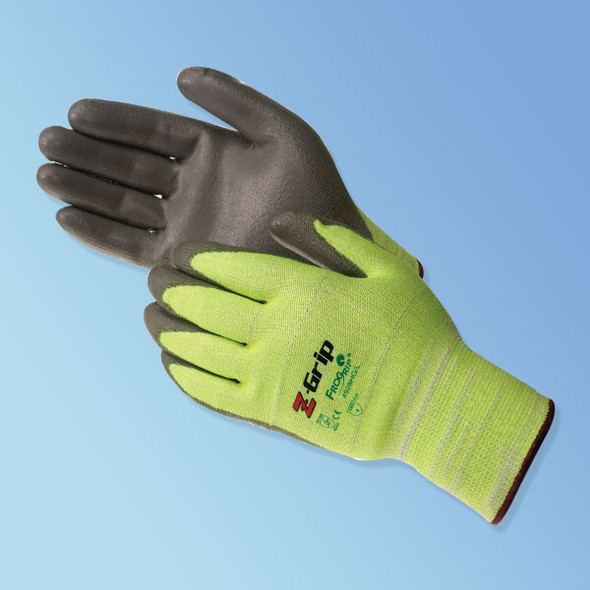 Get Z-Grip Polyurethane Coated Cut Resistant Glove, High Visible Green/Gray, Pair LIB4928HG at Harmony