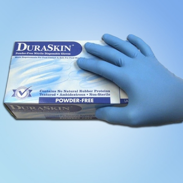 DuraSkin Blue Nitrile Food Service/General Purpose Gloves, 4 mil, Powder Free