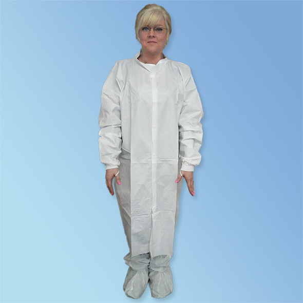 Snaps and thumb loops of Microporous Cleanroom Frocks, Knit Wrist, No Pockets, White T251-CE at Harmony