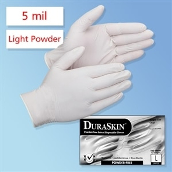 Get DuraSkin 5 mil Latex Food Service/General Purpose Gloves, Light Powder L2800W at Harmony