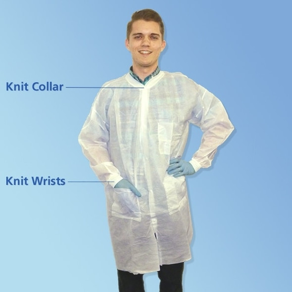 Get KeyStone SMS White Lab Coats, Knit Wrist, 3 Pockets, 30/cs T252SMS at Harmony