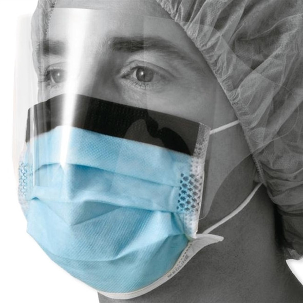Procedure Face Masks with EyeShield, Blue, 25/box