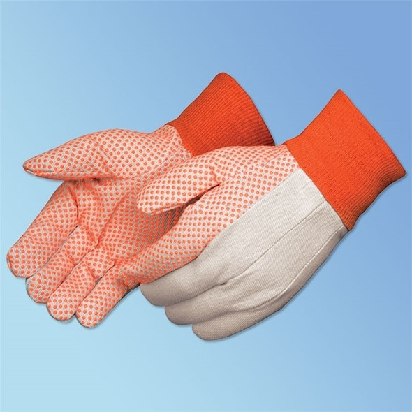Get White Cotton Canvas Glove w/ Fluorescent Orange PVC Dots, Men's,12/pr LIB9505A-M at Harmony