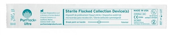 "Sterile PurFlock Ultra Flocked Swab, 6"" Polystyrene Shaft,  Elongated Tip, Breakpoint 100mm, 500/cs 