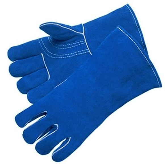 Blue Leather Welder Gloves