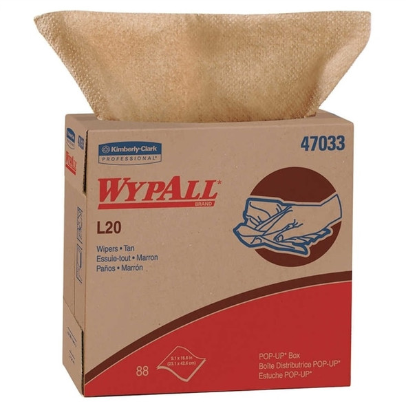 "Get Wypall L20 Tan Wipes, 9.1"" x 16.8"", Dispenser box, 10 box/case L47033 at Harmony"