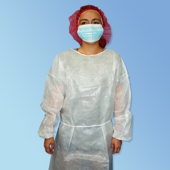Get Polyethylene Coated Isolation Gowns with elastic cuff, White, 50/case T270PL-WE at Harmony