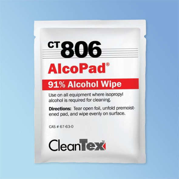 "CleanTex CT806 AlcoPad 91% Isopropyl Alcohol Wipes, 3"" x 4"""